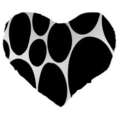 Dalmatian Black Spot Stone Large 19  Premium Heart Shape Cushions by Mariart