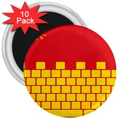 Firewall Bridge Signal Yellow Red 3  Magnets (10 Pack)  by Mariart