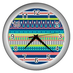 Aztec Triangle Chevron Wave Plaid Circle Color Rainbow Wall Clocks (silver)  by Mariart