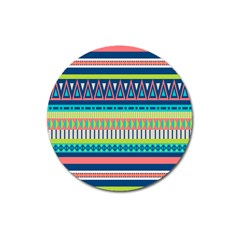 Aztec Triangle Chevron Wave Plaid Circle Color Rainbow Magnet 3  (round) by Mariart