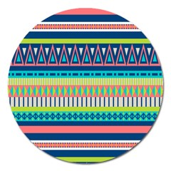 Aztec Triangle Chevron Wave Plaid Circle Color Rainbow Magnet 5  (round) by Mariart
