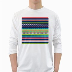 Aztec Triangle Chevron Wave Plaid Circle Color Rainbow White Long Sleeve T Shirts by Mariart
