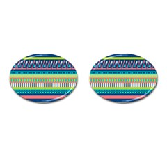 Aztec Triangle Chevron Wave Plaid Circle Color Rainbow Cufflinks (oval) by Mariart