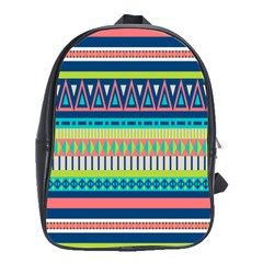 Aztec Triangle Chevron Wave Plaid Circle Color Rainbow School Bags(large)  by Mariart