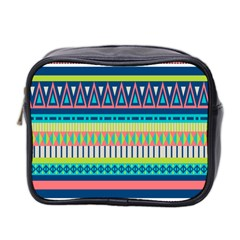 Aztec Triangle Chevron Wave Plaid Circle Color Rainbow Mini Toiletries Bag 2 Side by Mariart