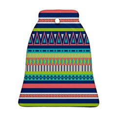 Aztec Triangle Chevron Wave Plaid Circle Color Rainbow Bell Ornament (two Sides) by Mariart