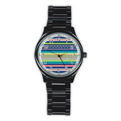 Aztec Triangle Chevron Wave Plaid Circle Color Rainbow Stainless Steel Round Watch by Mariart