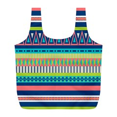 Aztec Triangle Chevron Wave Plaid Circle Color Rainbow Full Print Recycle Bags (l)  by Mariart