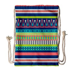 Aztec Triangle Chevron Wave Plaid Circle Color Rainbow Drawstring Bag (large) by Mariart
