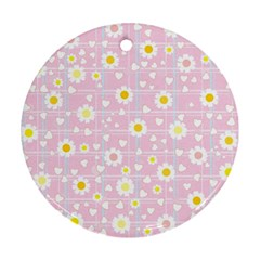 Flower Floral Sunflower Pink Yellow Ornament (round)