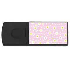 Flower Floral Sunflower Pink Yellow Usb Flash Drive Rectangular (4 Gb) by Mariart