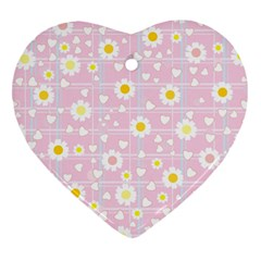 Flower Floral Sunflower Pink Yellow Heart Ornament (two Sides) by Mariart