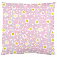Flower Floral Sunflower Pink Yellow Large Flano Cushion Case (one Side) by Mariart