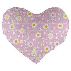 Flower Floral Sunflower Pink Yellow Large 19  Premium Flano Heart Shape Cushions by Mariart
