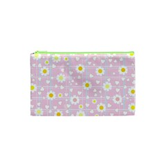 Flower Floral Sunflower Pink Yellow Cosmetic Bag (xs) by Mariart