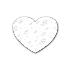 Dollar Sign Transparent Rubber Coaster (heart)  by Mariart