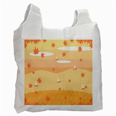 Dragonfly Leaf Orange Recycle Bag (one Side) by Mariart