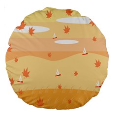 Dragonfly Leaf Orange Large 18  Premium Round Cushions by Mariart