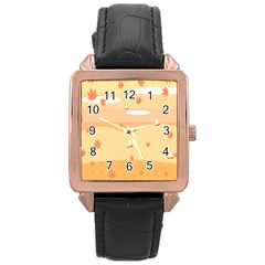 Dragonfly Leaf Orange Rose Gold Leather Watch  by Mariart