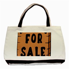 For Sale Sign Black Brown Basic Tote Bag (two Sides) by Mariart