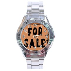 For Sale Sign Black Brown Stainless Steel Analogue Watch by Mariart
