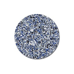 Electric Blue Blend Stone Glass Magnet 3  (round) by Mariart