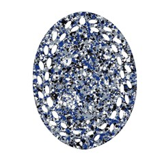 Electric Blue Blend Stone Glass Oval Filigree Ornament (two Sides) by Mariart