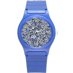 Electric Blue Blend Stone Glass Round Plastic Sport Watch (s) by Mariart