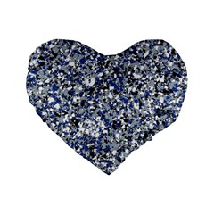 Electric Blue Blend Stone Glass Standard 16  Premium Flano Heart Shape Cushions by Mariart