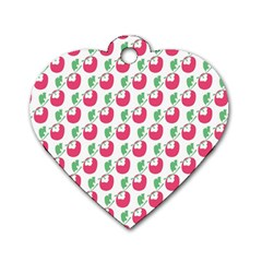Fruit Pink Green Mangosteen Dog Tag Heart (one Side) by Mariart