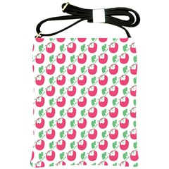 Fruit Pink Green Mangosteen Shoulder Sling Bags by Mariart