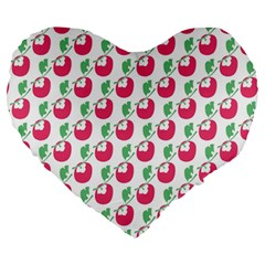 Fruit Pink Green Mangosteen Large 19  Premium Heart Shape Cushions by Mariart