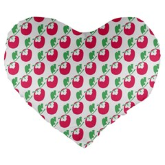 Fruit Pink Green Mangosteen Large 19  Premium Flano Heart Shape Cushions by Mariart