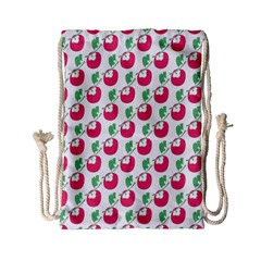 Fruit Pink Green Mangosteen Drawstring Bag (small) by Mariart