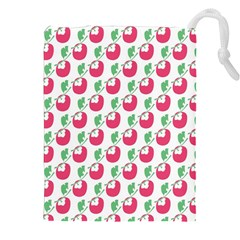 Fruit Pink Green Mangosteen Drawstring Pouches (xxl) by Mariart