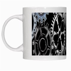 Gears Technology Steel Mechanical Chain Iron White Mugs by Mariart
