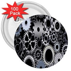 Gears Technology Steel Mechanical Chain Iron 3  Buttons (100 Pack)  by Mariart