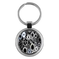 Gears Technology Steel Mechanical Chain Iron Key Chains (round)  by Mariart