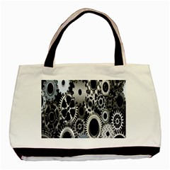 Gears Technology Steel Mechanical Chain Iron Basic Tote Bag by Mariart