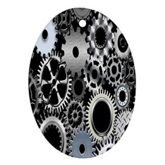 Gears Technology Steel Mechanical Chain Iron Oval Ornament (two Sides) by Mariart