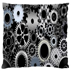 Gears Technology Steel Mechanical Chain Iron Large Cushion Case (two Sides) by Mariart