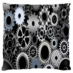 Gears Technology Steel Mechanical Chain Iron Large Flano Cushion Case (two Sides) by Mariart