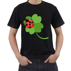 Insect Flower Floral Animals Green Red Men s T Shirt (black) (two Sided) by Mariart