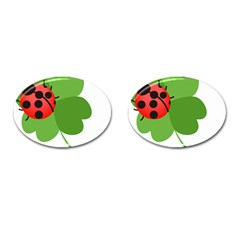 Insect Flower Floral Animals Green Red Cufflinks (oval) by Mariart