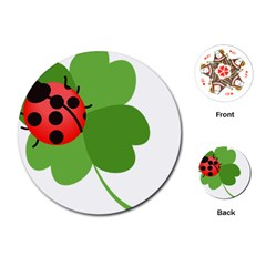 Insect Flower Floral Animals Green Red Playing Cards (round)  by Mariart