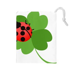 Insect Flower Floral Animals Green Red Drawstring Pouches (large)  by Mariart