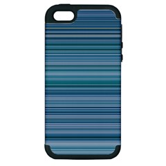 Horizontal Line Blue Apple Iphone 5 Hardshell Case (pc+silicone) by Mariart