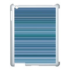 Horizontal Line Blue Apple Ipad 3/4 Case (white) by Mariart
