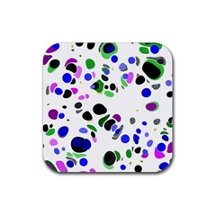 Colorful Random Blobs Background Rubber Coaster (square)