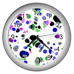 Colorful Random Blobs Background Wall Clocks (silver)  by Nexatart
